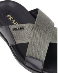 Prada Spazzolato & Nylon Thong Sandals - Lyst