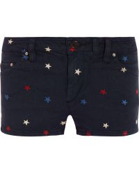 Etoile Isabel Marant Dinky Embroidered Stretchdenim Shorts - Lyst