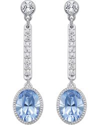 Swarovski Adhere Silvertone Light Sapphire Drop Earrings - Lyst