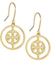 Tory Burch Deco Logo Drop Earrings - Lyst