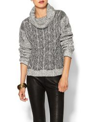 Milly Braided Cable Sweater - Lyst