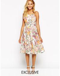 Love Debutante Midi Dress In Large Scale Floral - Lyst