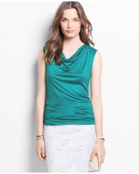 Ann Taylor Ruched Cowl Neck Top - Lyst