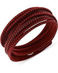 Swarovski Swarovksi Burgundy Fabric Crystal Stud Wrap Bracelet - Lyst