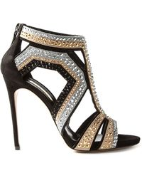 Casadei 'Evening' Crystal Embellished Sandals - Lyst