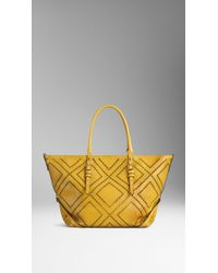 Burberry - Medium Brogue Detail Leather Tote Bag - Lyst
