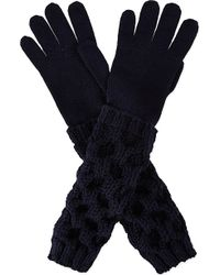 Moncler Cable Knit Woollen Gloves - Lyst