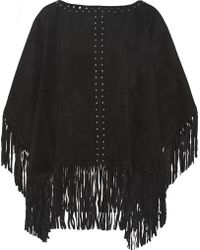 MICHAEL Michael Kors Fringed Suede Poncho - Lyst