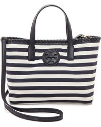 Tory Burch Marion Printed Nylon Small East  West Tote - Awning Stripe - Lyst