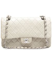 Chanel Pre-Owned Grey Lambskin Medium Double Flap Bag - Lyst