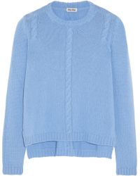 Miu Miu Cable-knit Cashmere Sweater - Lyst