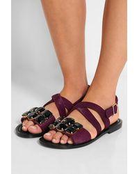 Marni Embellished Calf Hair Sandals - Lyst