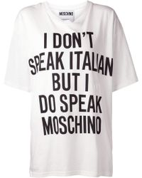 Moschino I Dont Speak Italian T-shirt - Lyst