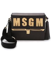 MSGM Logo Messenger Bag - Black - Lyst