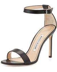 Manolo Blahnik Chaos Leather Ankle-strap Sandal - Lyst
