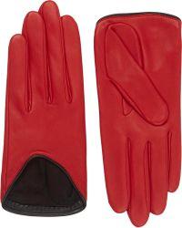 Rag & Bone Lamskin Moto Gloves red - Lyst