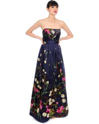 Kay Unger Silk Floral Print Pleated Gown - Lyst