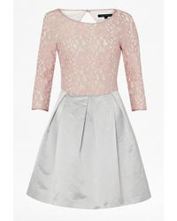 French connection Summer Liana Lace 34 Slash Neck Dress - Lyst