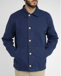 Armor Lux Navy Buttoned Fisherman Jacket - Lyst