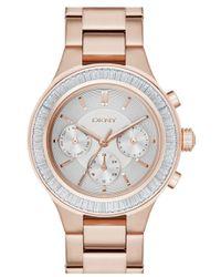 DKNY - 'chambers' Crystal Bezel Bracelet Watch - Lyst