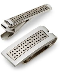 Lotus - Titanium & Stainless Steel Tie Bar & Money Clip Set - Lyst