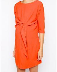 Asos Maternity Tie Waist Crepe Shift Dress - Lyst