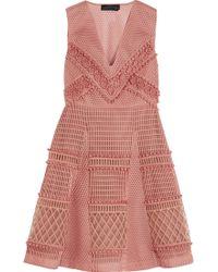 Burberry Prorsum - Embroidered Honeycomb-mesh Mini Dress - Lyst