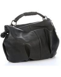 Giorgio Armani Black Leather Knotted Handle Hobo - Lyst