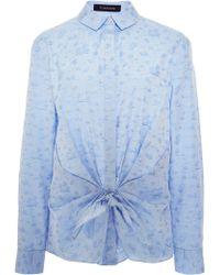 Thakoon Bow-detail Cotton-jacquard Shirt - Lyst