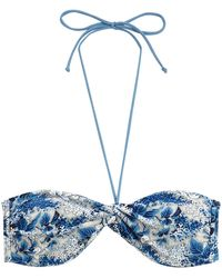 Oasis Ditsy Blues Twist Knot Bikini Top - Lyst