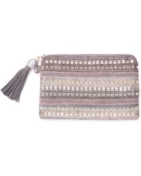 TOMS - Silver Beaded Stripe Party Pouch - Lyst