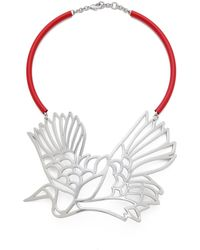 Carven Bird Necklace - Nickel - Lyst