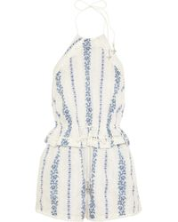 Zimmermann Hydra Embroidered Printed Cotton Playsuit - Lyst