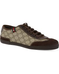 Gucci Barcelona Laced Trainers Brown - Lyst
