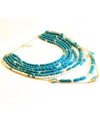 Toosis Long Turquoise Necklace blue - Lyst