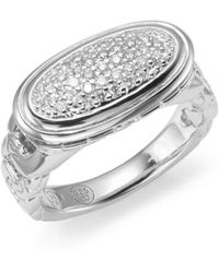 John Hardy Classic Chain Pavé Diamond  Sterling Silver Oval Ring - Lyst