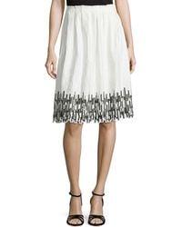Elie Tahari Sienna Gathered Skirt With Embroidered Hem - Lyst