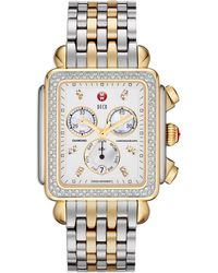 Michele - Deco Xl Diamond Twotone Watch Head  20mm Bracelet Strap - Lyst