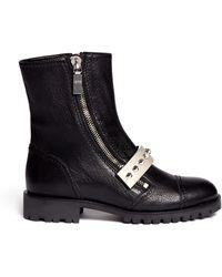 Alexander McQueen Studded Plate Leather Biker Boots - Lyst