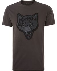 Diesel Wolf Head Applique Crew Neck T Shirt - Lyst