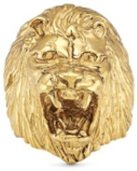 Ela Stone Lion Head Brass Ring gold - Lyst