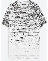 Zara   Paint Splattered T-shirt   Lyst