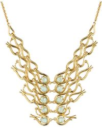 Alexis Bittar Maldivian Scalloped Aigrette Bib Necklace With Amazonite Doublet - Lyst