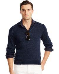 Ralph Lauren Black Label Linen-blend V-neck Sweater - Lyst