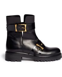Alexander McQueen Split Cuff Buckle Leather Combat Boots - Lyst