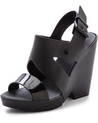Melissa Flip Wedge Sandals Black - Lyst