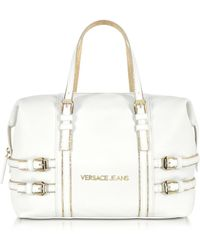 Versace Jeans White Embossed Nappa Leather Satchel - Lyst