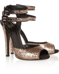 Gucci Suede-trimmed Glitter-finished Sandals - Lyst