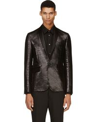 DSquared2 Black Silk Trim Glossy Blazer - Lyst
