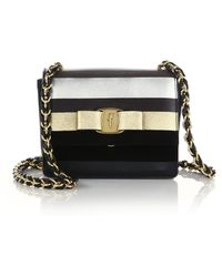 Ferragamo | Vara Ginny Metallic Striped Leather & Suede Crossbody Bag | Lyst